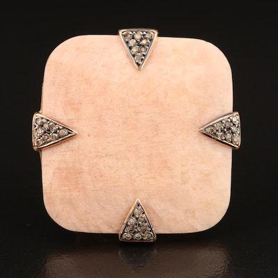 18K Microcline Feldspar and Brown Diamond Ring