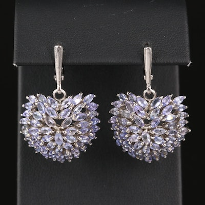 Sterling Tanzanite Dome Cluster Earrings