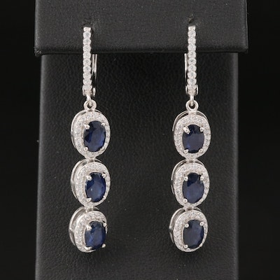 Sterling Silver Sapphire and Cubic Zirconia Dangle Earrings
