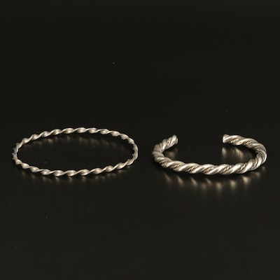 Sterling Twisted Bangle with Cuff