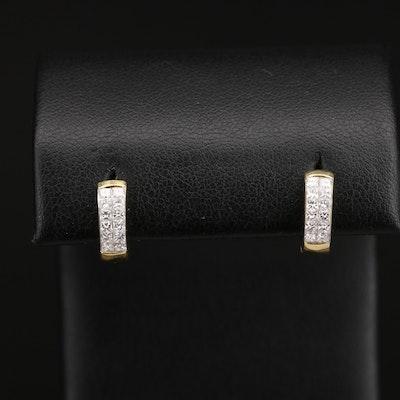 18K Diamond Huggie Hoop Earrings