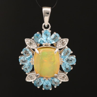 Sterling Opal, Topaz and Sapphire Pendant