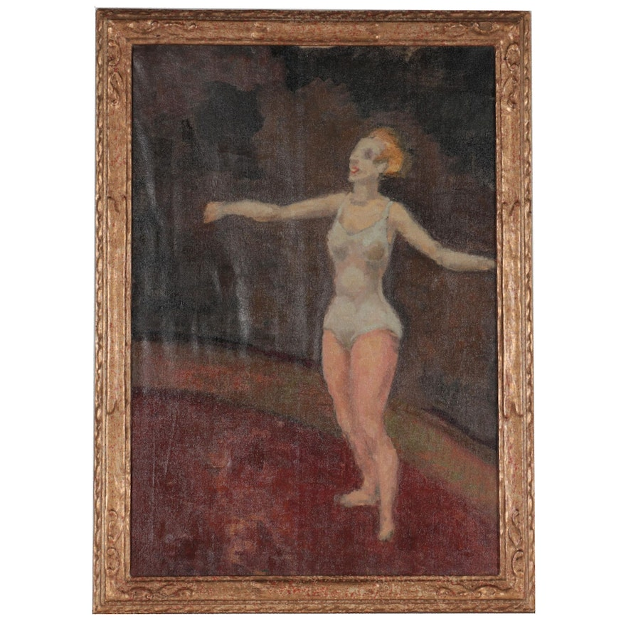 Ashcan Style Oil Painting of Dancer, Mid-20th Century