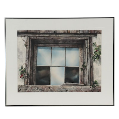 Pam Berns Watercolor Painting of Weathered Window