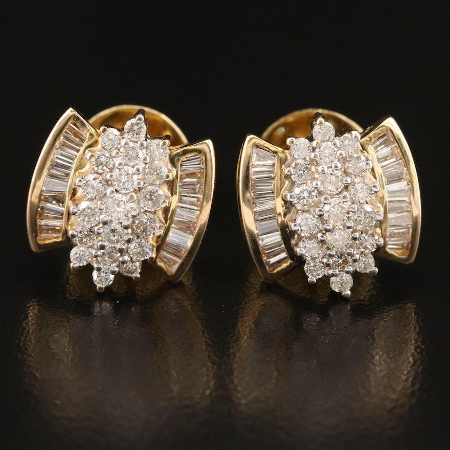 14K 1.68 CTW Diamond Cluster Earrings