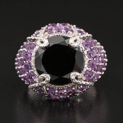Sterling Silver Spinel and Amethyst Domed Ring
