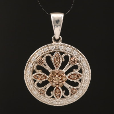 Sterling Diamond and Cubic Zirconia Pendant