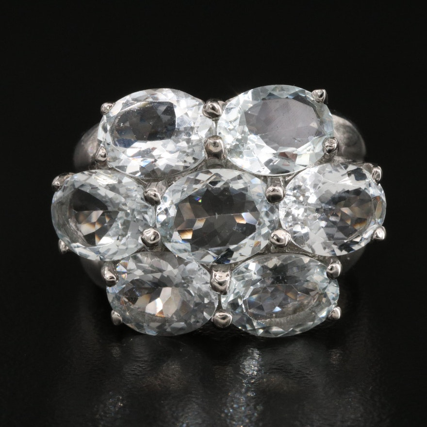 Sterling Silver Quartz Cluster Ring