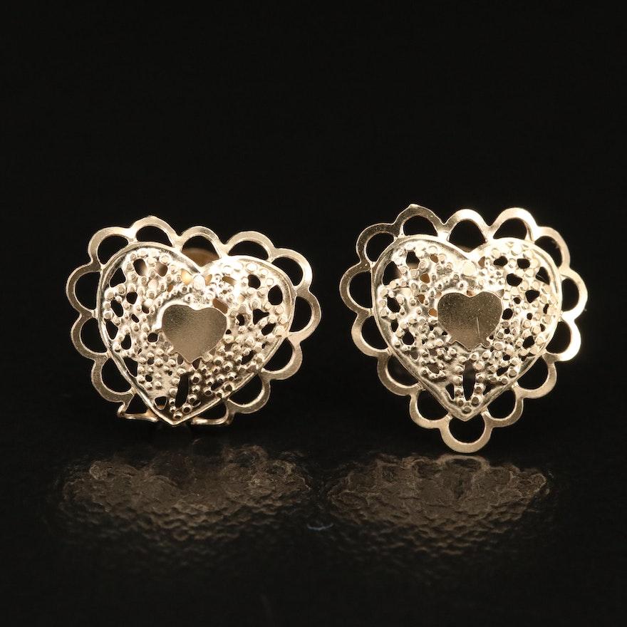 14K Heart Openwork Stud Earrings