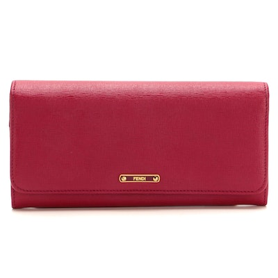 Fendi Continental Flap Wallet in Fuchsia Textured Leather