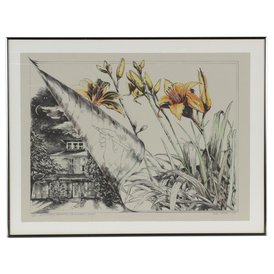"""Ellen Lanyon Hand-Colored Lithograph """"The Mystery Explained: Hemeracauis Flavia"""""""