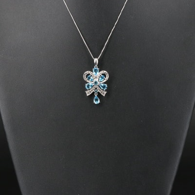 Sterling Swiss Blue Topaz and White Topaz Bow Pendant Necklace
