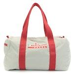 Prada Sport Luna Rossa Small Duffle Bag in Grey Nylon Canvas with Red Trim