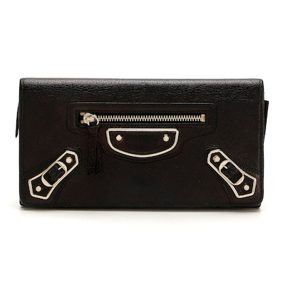 Balenciaga Classic Bifold Continental Wallet in Black Leather
