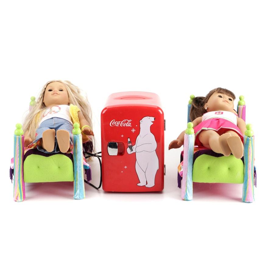 American Girl Dolls and Small Coca Cola Refrigerator