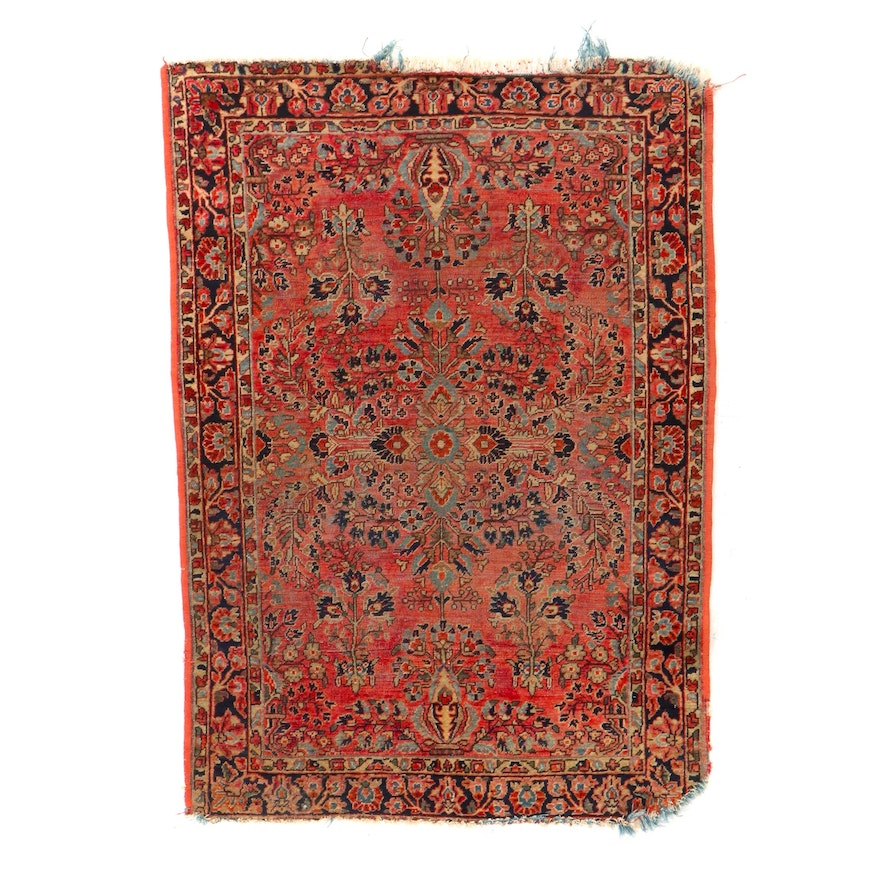 3'4 x 4'10 Hand-Knotted Persian Sarouk Accent Rug