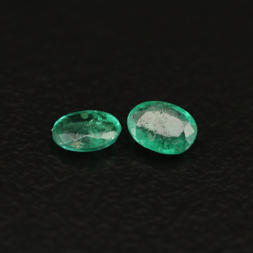 Matched Pair of Loose 0.30 CTW Emeralds
