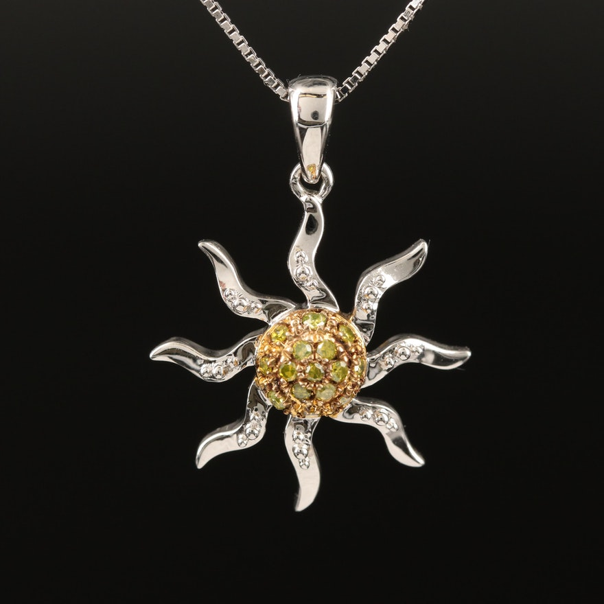 Sterling Diamond Sun Pendant Necklace
