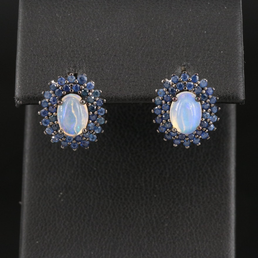 Sterling Opal and Sapphire Earrings