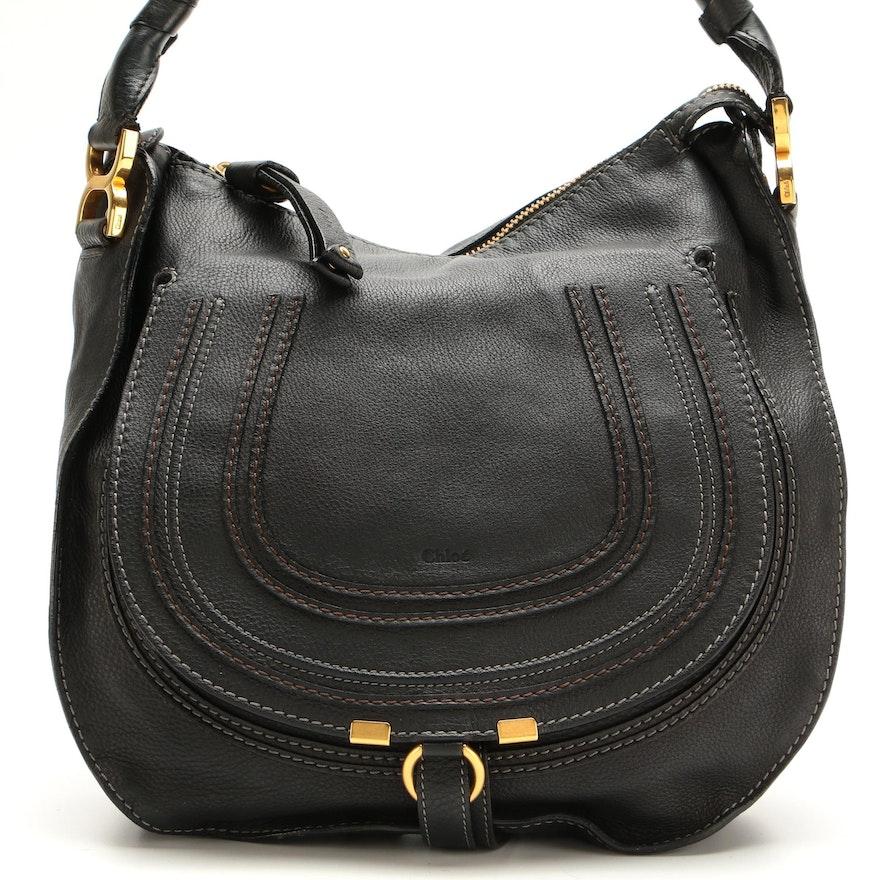 Chloé Marcie Medium Hobo Bag in Black Leather