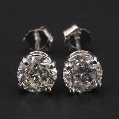 Platinum 1.81 CTW Diamond Stud Earrings with GIA Online Report