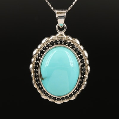 Sterling Faux Turquoise and Spinel Pendant Necklace