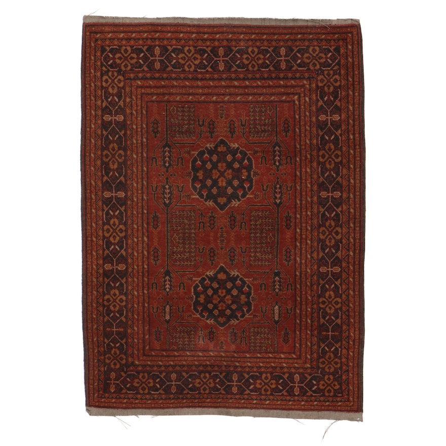 3'3 x 4'9 Hand-Knotted Afghan Turkmen Rug, 1970s