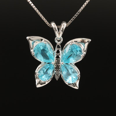 Sterling Apatite and Diamond Butterfly Pendant Necklace
