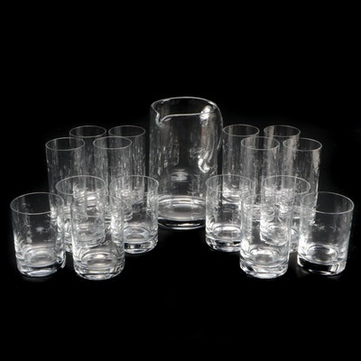 Etched Glass School of Fishes Pitcher with Tumblers and Old Fashioned Glasses