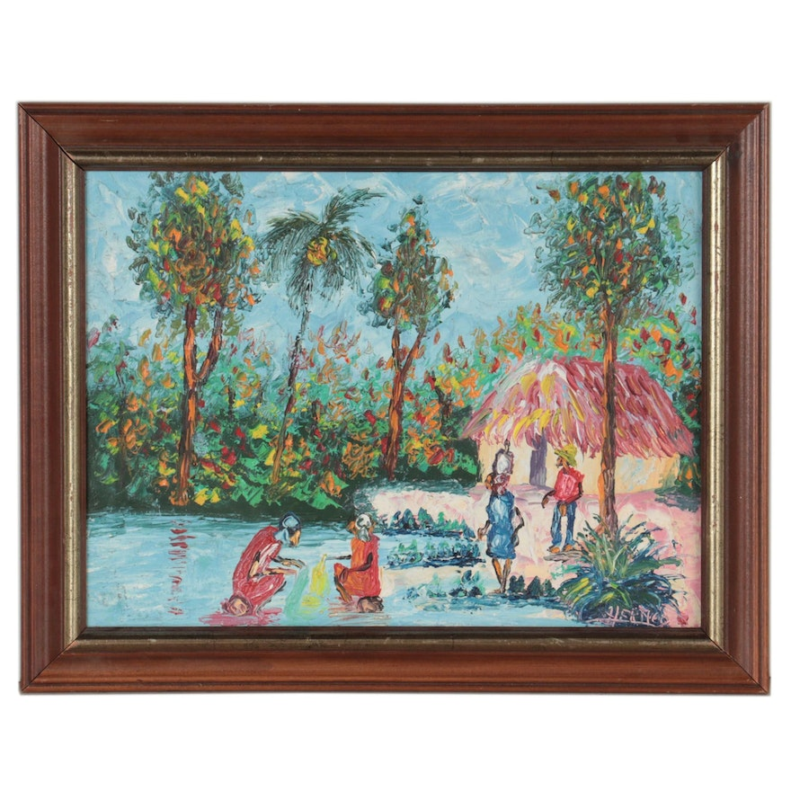 Tropical Landscape Oil Painting with Figures