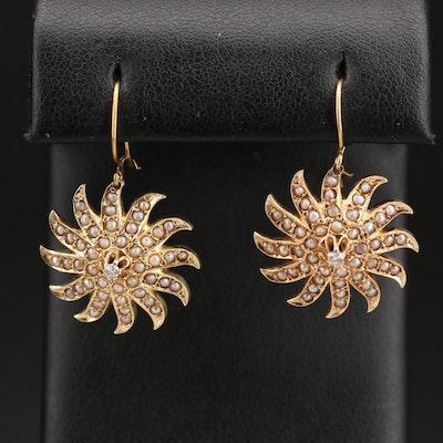 Victorian 14K Diamond and Pearl Sunburst Earrings