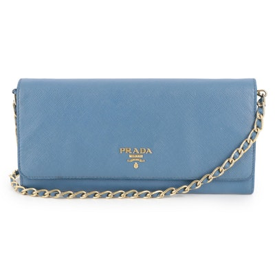 Prada Blue Saffiano Leather Wallet on Chain