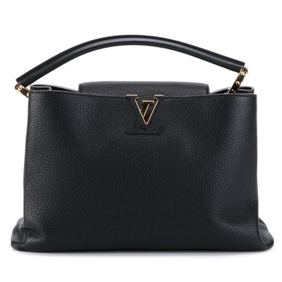 Louis Vuitton Capucines MM Bag in Black Grained Leather