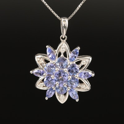 Sterling Tanzanite and Diamond Floral Pendant Necklace