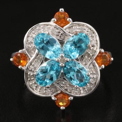 Sterling Apatite, Citrine and Diamond Quatrefoil Ring