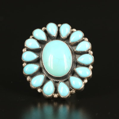 Western Style Don Lucas Sterling Turquoise Ring