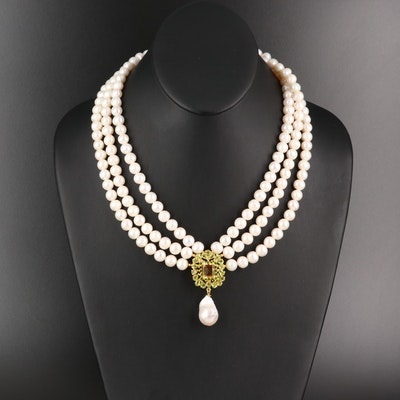 Sterling Pearl, Citrine and Peridot Multi-Strand Necklace