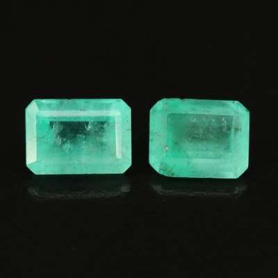 Matched Pair of Loose 2.93 CTW Cut Corner Rectangular Faceted Emeralds