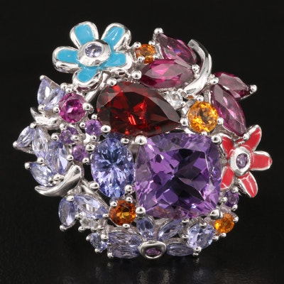 Sterling Foliate Cluster Ring with Amethyst, Garnet and Tanzanite