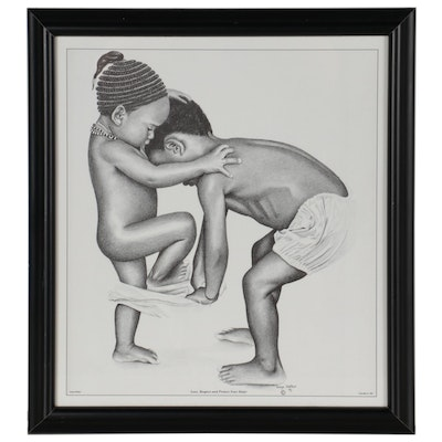 """Halftone Print after Sonya Walker """"Love, Respect and Protect Your Sister,"""" 1991"""