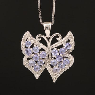 Sterling Tanzanite and Diamond Butterfly Pendant