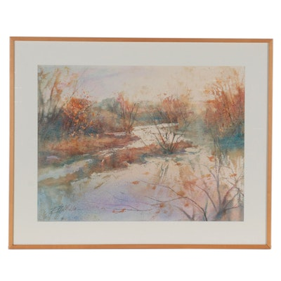 """Richard Nichols Watercolor Painting """"Whispering Falls,"""" Circa 1989"""