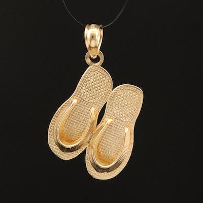 14K Flip Flop Sandal Charm Pendant