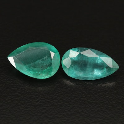 Loose 5.54 CTW Pear Faceted Emeralds