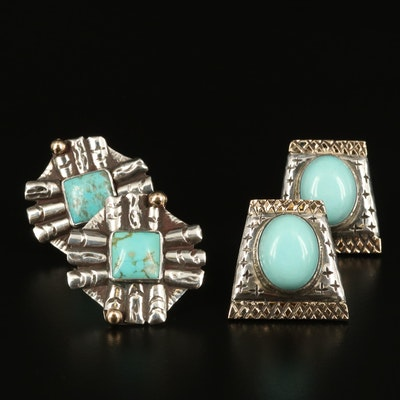 Western Style Sterling Turquoise Clip Earrings with 14K Accents