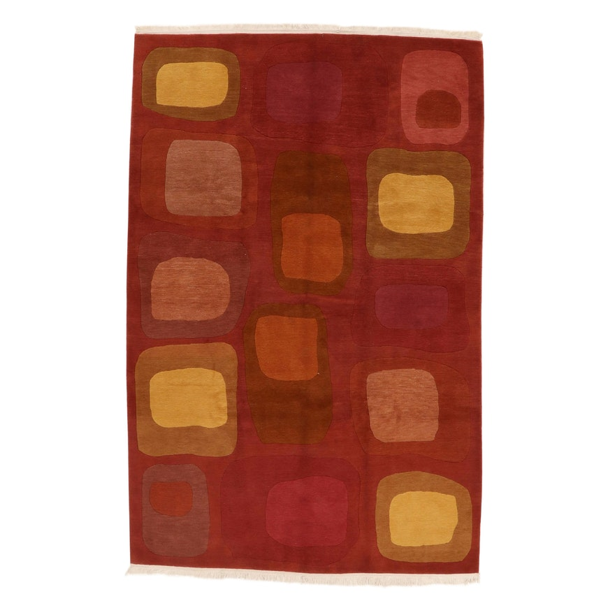 6' x 9'6 Hand-Knotted Tibetan Persian Gabbeh Rug, 2000s