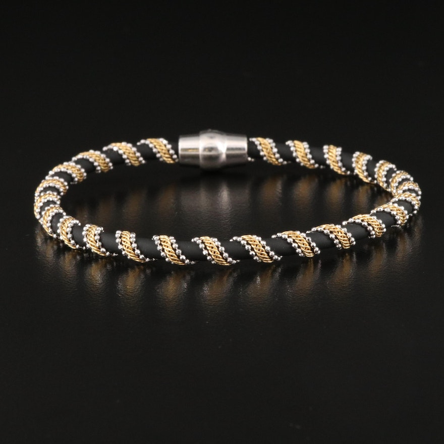 Chain Wrapped Rubber Cord Bracelet with Italian Sterling Magnetic Clasp