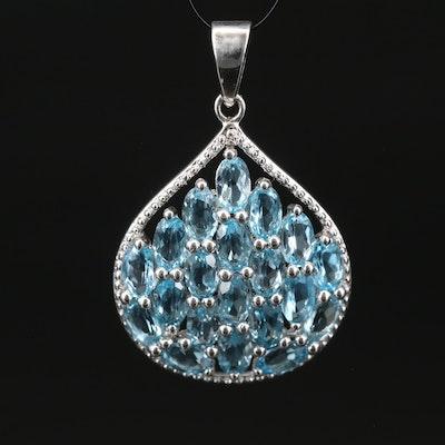 Swiss Blue Topaz Teardrop Pendant in Sterling Silver