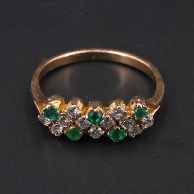 18K Diamond Ring with Faceted Green Glass Accents