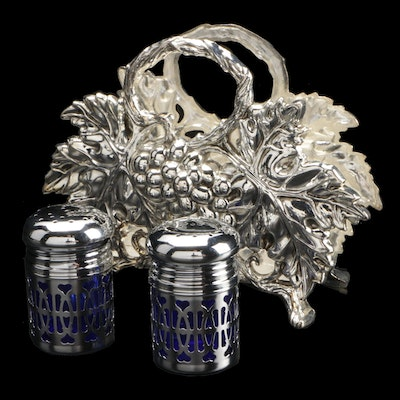 Godinger Silver Plate Grape Napkin Holder with Glass and Silver Plate Shakers